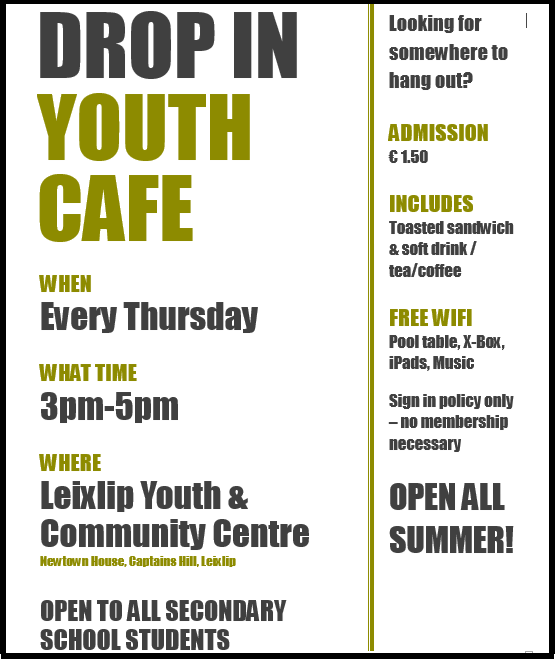 youth cafe poster june 2015